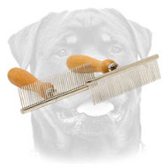 Dog comb with convenient wooden handle