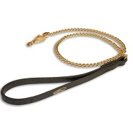 Chain Gold Colored HS dog leash with leather handle