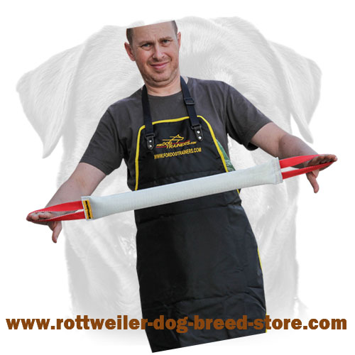 Durable Fire Hose Rottweiler tug with stitched handles