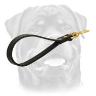 Short leather dog leash with handle