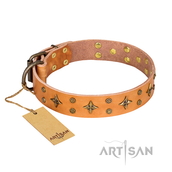 Awesome full grain genuine leather dog collar for handy use