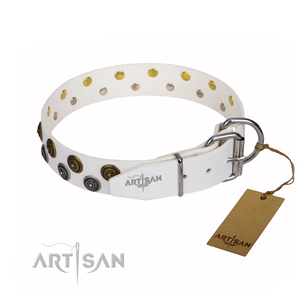 Daily use natural genuine leather collar with studs for your pet