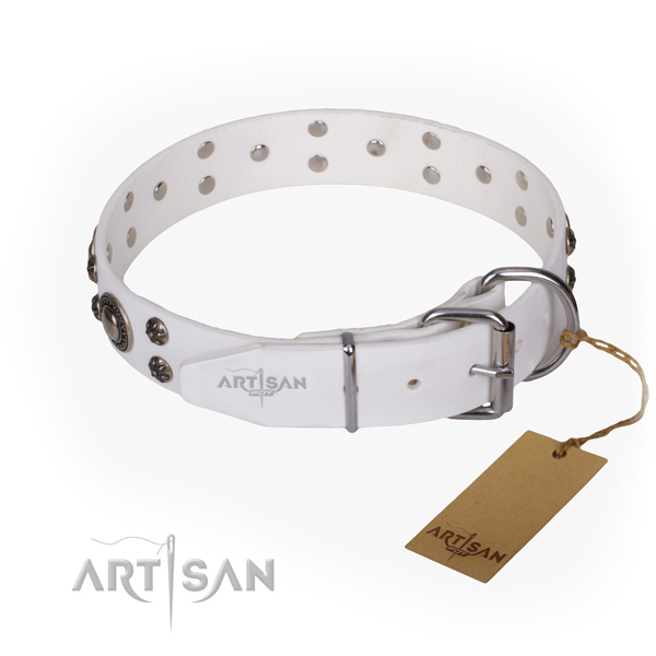 Handy use leather collar with decorations for your dog