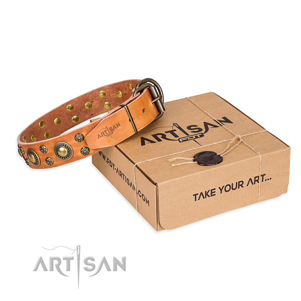 Natural genuine leather dog collar with decorations for stylish walking