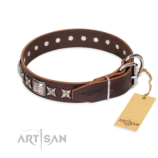Everyday walking full grain genuine leather collar with decorations for your pet