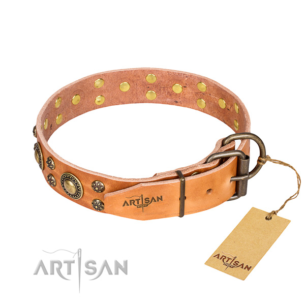 Everyday use full grain genuine leather collar with decorations for your four-legged friend