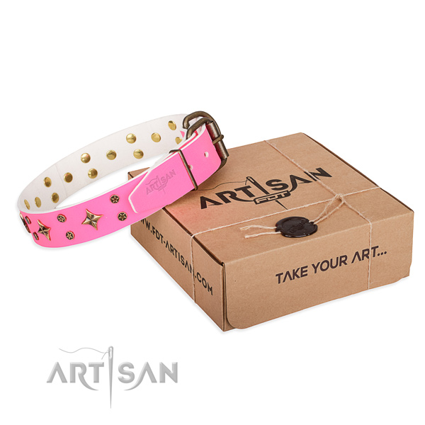 Studded full grain leather dog collar for handy use
