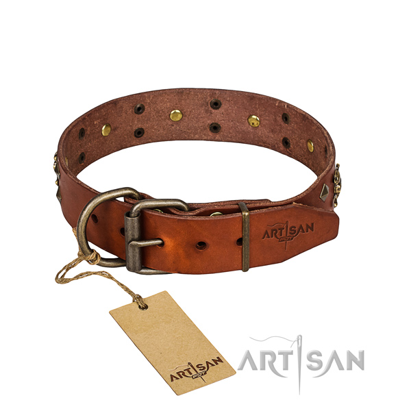 Leather dog collar with polished edges for convenient everyday wearing