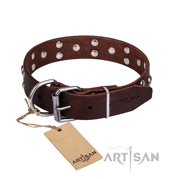 Leather dog collar with polished edges for pleasant walking