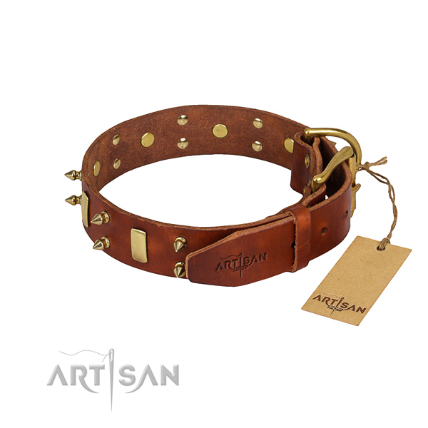 Natural leather dog collar with worked out leather surface