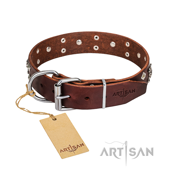 Resistant leather dog collar with non-corrosive hardware