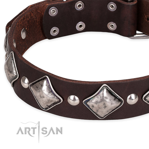 Easy to adjust leather dog collar with extra sturdy durable buckle
