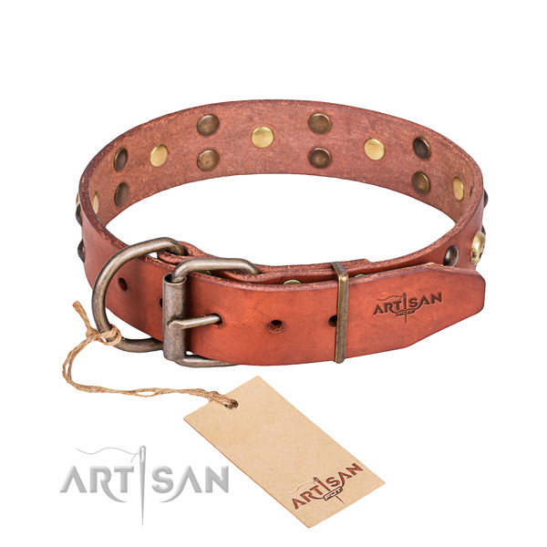 Leather dog collar with smooth edges for pleasant everyday outing