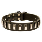 Ornament Dog Collar made of leather for Rottweiler