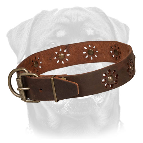 Leather Dog Collar with Flower Decor