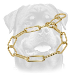Strong Rottweiler collar with fur-saving brass links