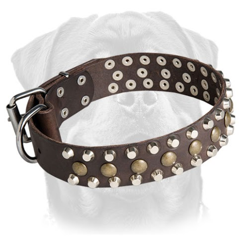 Studded Leather Rottweiler Collar