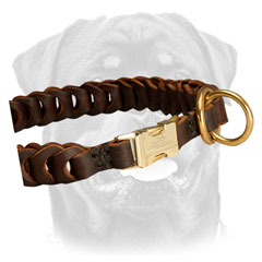 Brass easy quick release buckle fixed in braided leather