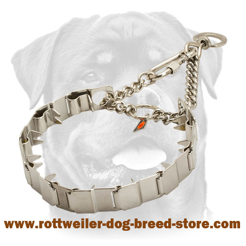 Prong Neck Tech Dog Collar with Removable Links for Rottweiler