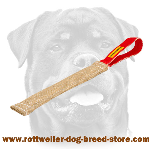 Jute Rottweiler bite tug for puppies