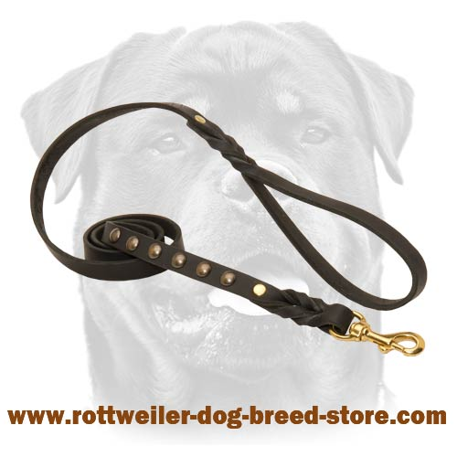 Leather Dog Leash with Studs for walking , tracking