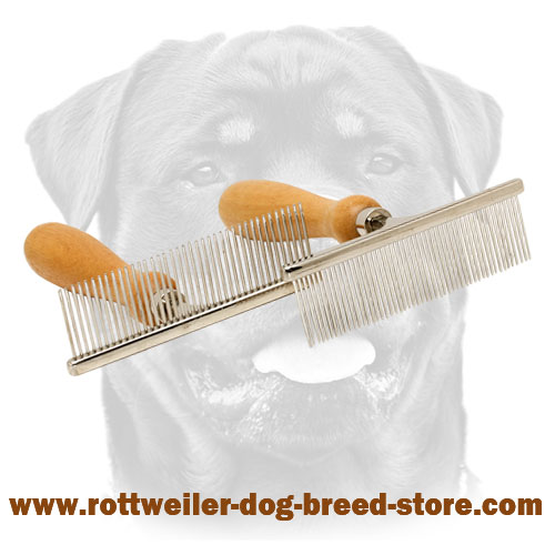 Rottweiler Metal Brush Equipped with Wooden Handle