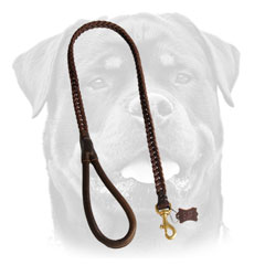 Braided Leather Dog Leash For Rottweiler