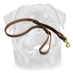 Brass Snap Hook On     Reliable Leather Dog Leash For Rottweiler