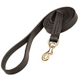 Leather dog leash stitched - 6 foot dog leash