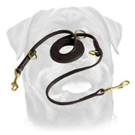 Useful Multi-Purpose Leather Rottweiler Leash with O-rings and 2 Snap Hooks