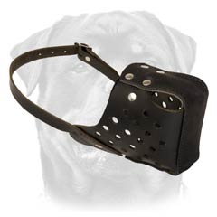 Handmade leather dog muzzle