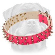 New Fashionable Pink Leather Dog Collar with Spikes