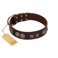 """Antique Style"" Designer Handmade FDT Artisan Brown Leather Rottweiler Collar"