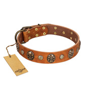 """Call of Feat"" FDT Artisan Tan Leather Rottweiler Collar with Old Bronze-like Studs and Oval Brooches"