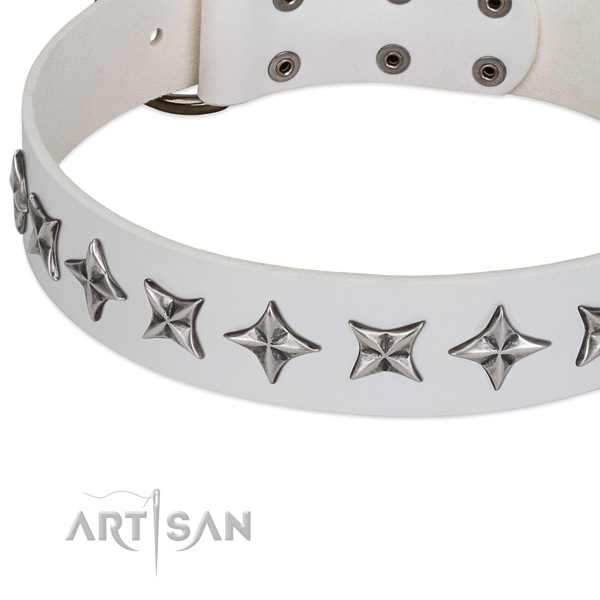 Comfortable wearing adorned dog collar of strong natural leather