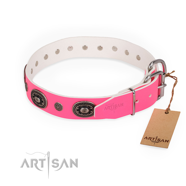 Everyday use fine quality dog collar with corrosion proof traditional buckle