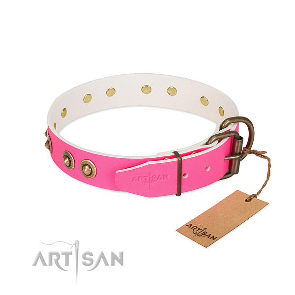 Natural genuine leather dog collar with strong buckle and decorations