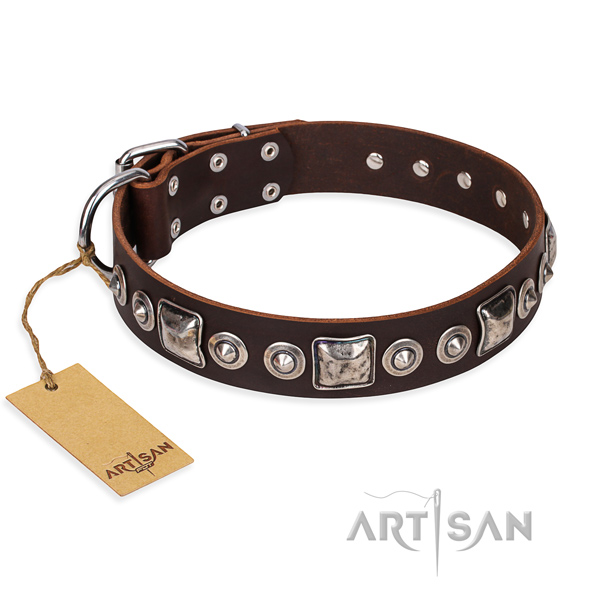 Leather dog collar made of top rate material with rust resistant buckle