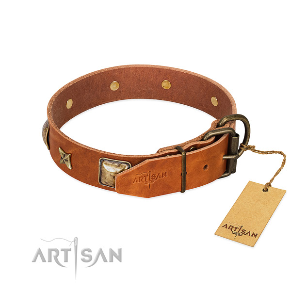 Natural genuine leather dog collar with corrosion resistant buckle and embellishments