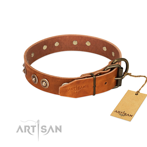 Strong hardware on full grain genuine leather dog collar for your pet