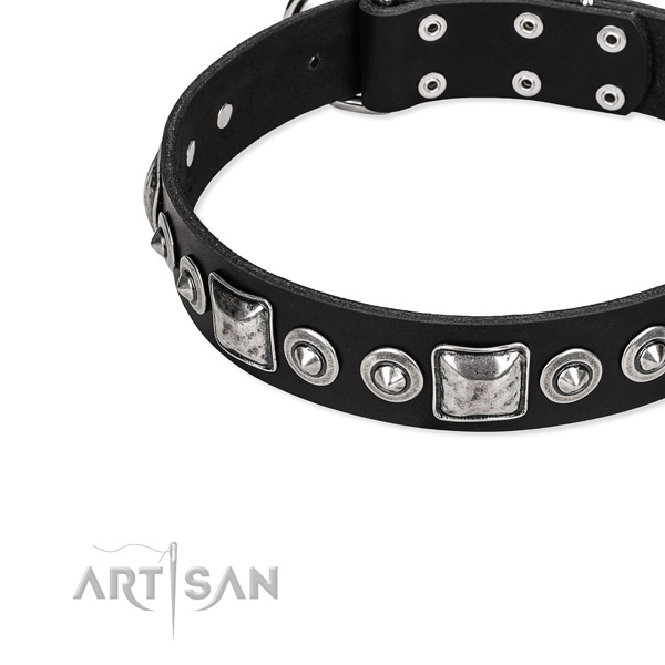 Genuine leather dog collar made of high quality material with embellishments