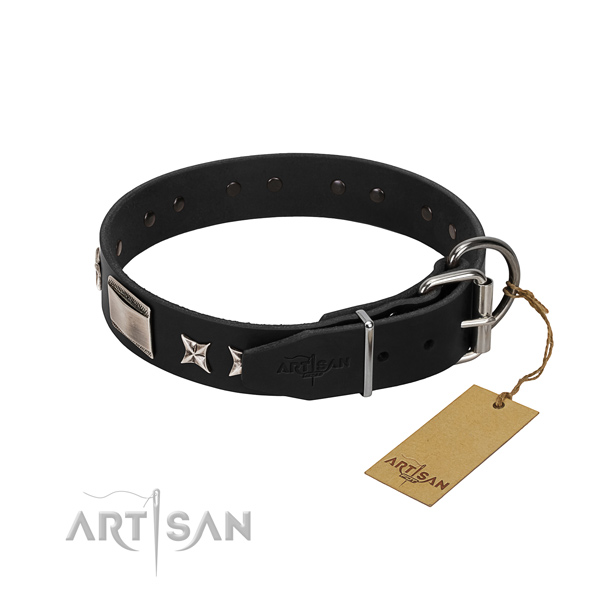 High quality natural leather dog collar with corrosion proof D-ring