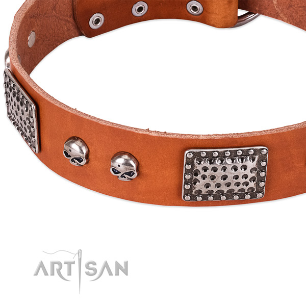 Durable hardware on full grain natural leather dog collar for your pet