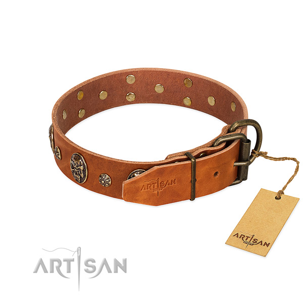 Durable hardware on natural genuine leather dog collar for your doggie