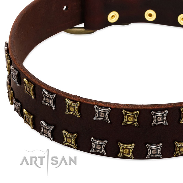 High quality natural leather dog collar for your beautiful pet