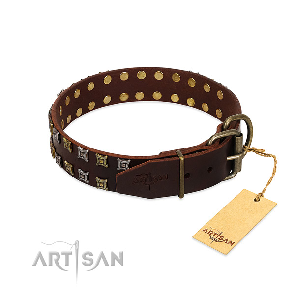 High quality leather dog collar handcrafted for your dog