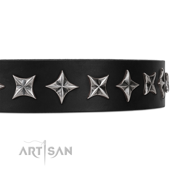 Comfy wearing embellished dog collar of best quality full grain leather