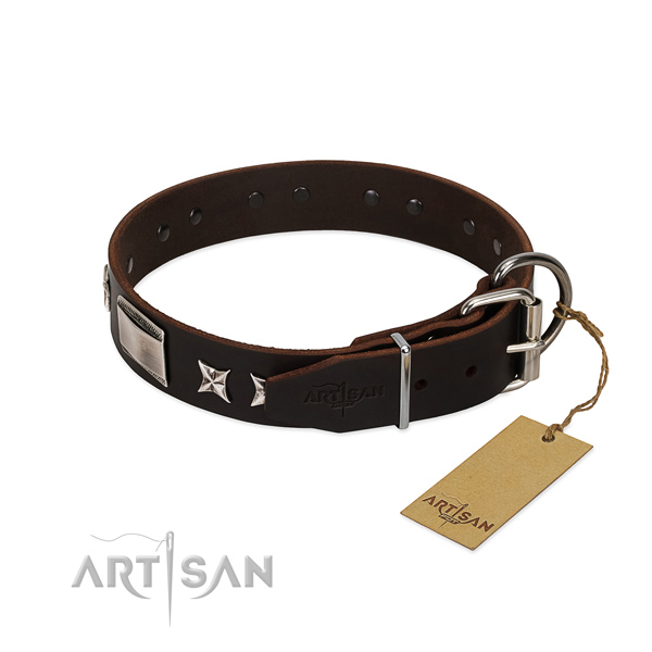 Awesome collar of natural leather for your beautiful canine