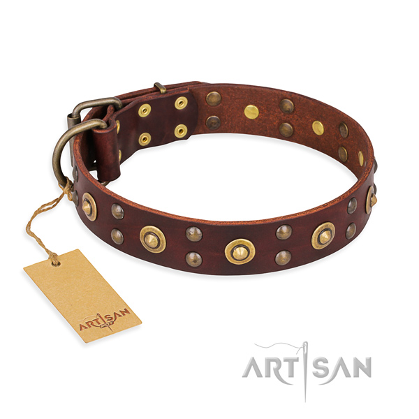 Exquisite genuine leather dog collar with rust resistant buckle