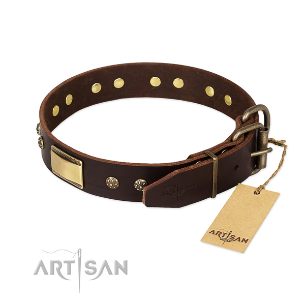 Handmade full grain natural leather collar for your doggie